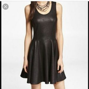 Express Faux Leather Skater Dress
